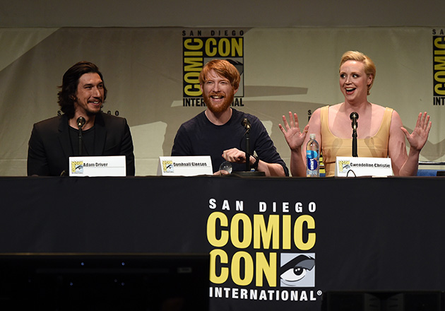 SAN DIEGO, CA - JULY 10:  (L-R) Actors Adam Driver, Domhnall Gleeson and Gwendoline Christie speak onstage at the Lucasfilm panel during Comic-Con International 2015 at the San Diego Convention Center on July 10, 2015 in San Diego, California.  (Photo by Kevin Winter/Getty Images)