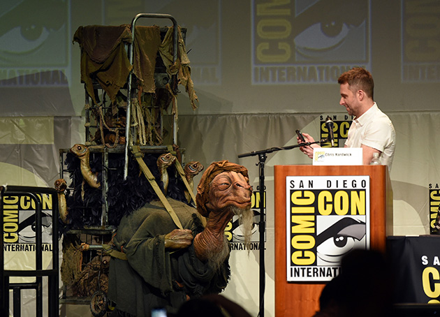 SAN DIEGO, CA - JULY 10:  A creature nicknamed 'Babajo' appears onstage with moderator Chris Hardwick at the Lucasfilm panel during Comic-Con International 2015 at the San Diego Convention Center on July 10, 2015 in San Diego, California.  (Photo by Kevin Winter/Getty Images)