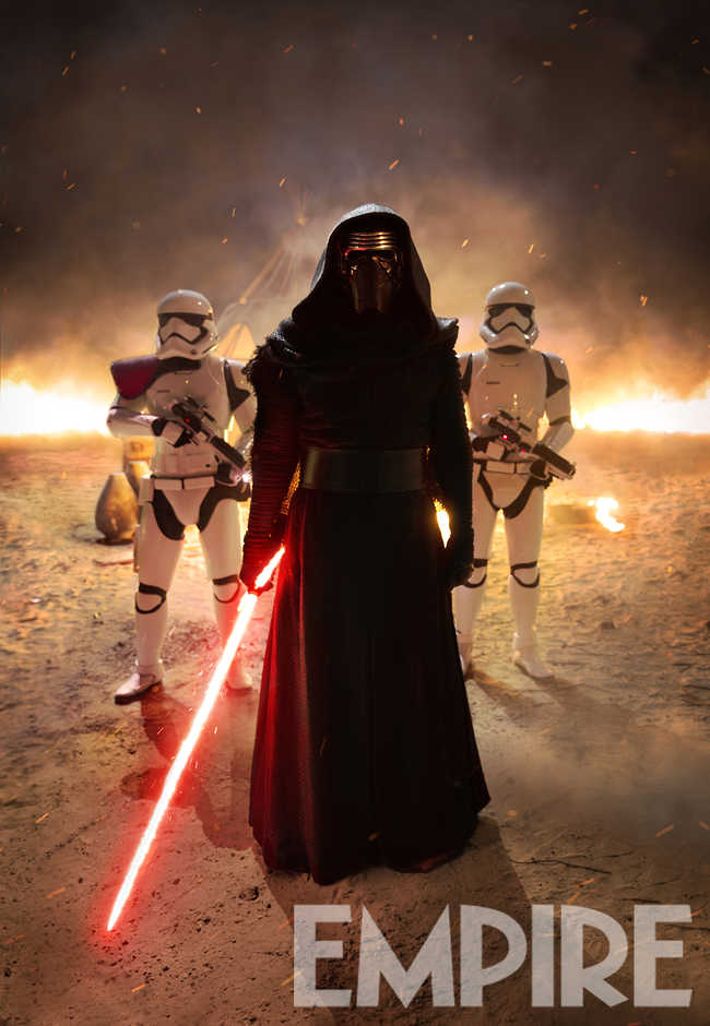 Star Wars: The Force Awakens Kylo Ren (Adam Driver) and First Order Troopers Ph: David James © 2015 Lucasfilm Ltd. & TM. All Right Reserved..