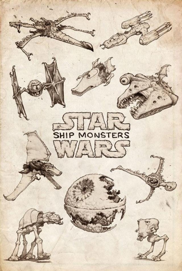 artist-reimagines-star-wars-ships-as-giant-monsters